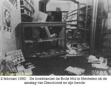 De boekhandel Rode Mol na de aanslag.