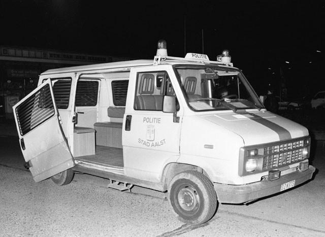 Een politiewagen na de overval in Aalst.