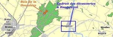 Een kaart van het Bois de la Houssière en Ronquières.