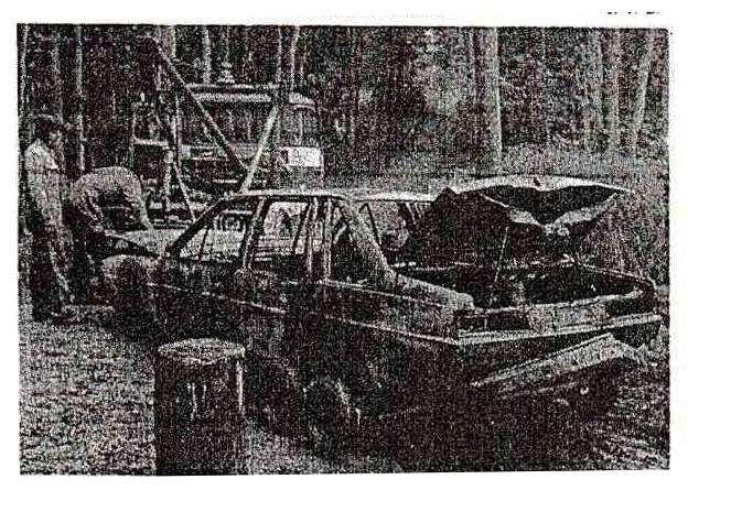 De Volkswagen Santana in het Zoniënwoud na de overval in Waver.