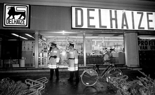 Het Delhaize-warenhuis van Aalst na de overval.
