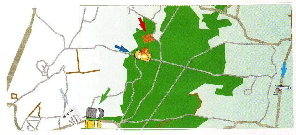 Een kaart van het Bois de la Houssière.