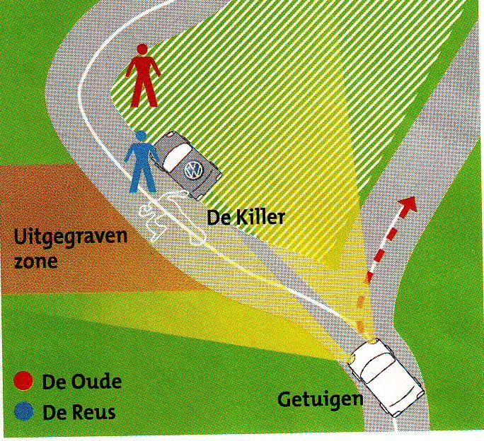 Een detailkaart van de opgravingen van de Cel Waals Brabant in het bos van Houssière.