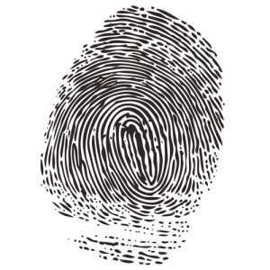 Een tekening van een vingerafdruk.